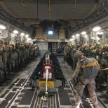 Inside a C-17 before conducting a jump and follow on mission.