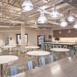 Great amenities include cafe seating and industrial kitchen