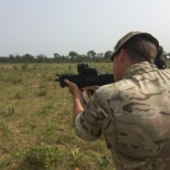 Firing the Nigerian forces weapon whilst training their special forces.