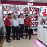 Sanatan sahoo (left) , patra electronics owner (left second ) , lg MD (right second )