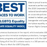 West earns perfect score of 100 percent on the 2018 Corporate Equality Index