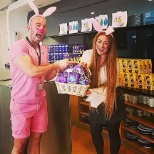 We had easter bunnies visit us and give us chocolate eggs