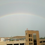 Rainbow above the parking garage at Allegiance