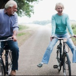 Heritage Homecare photo: older couple on bikes