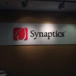 A big sign of synaptics in front door