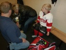My youngest grandson learning hockey.