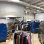 The back warehouse of a Goodwill thrift store