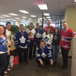 Some of our employees supporting their favourite hockey teams during our Jersey day!