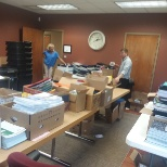 "United Way photo: We were sorting school supplies for the ""Stuff The Bus"" fund raiser."