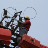 SSE photo: 20 kv live line work by stick