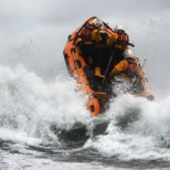 photo of RNLI, D-class inshore lifeboat in waves