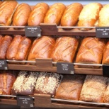 These are the breads at Panera Bread in the cashier stations