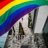 Amazon raises a 30-foot Pride Flag in the Doppler promenade on Monday, June 19, 2017, in Seattle, WA
