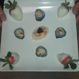 I made Polk sushi and white choc. dipped strawberries for his birthday...