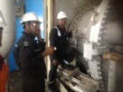 Liner Transition Piece Inspection, on GE Gas Turbine.