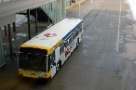 A  Route 21 bus at the new St. Paul Union Depot loading area for Metro Transit buses.
