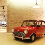 "Mini Cooper - one of our many ""Design Icons"" - in the Dyson US headquarters lobby"