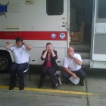Meeting of the Minds. Me with 2 of my bosses.  Hear No Evil, See No Evil, Speak No Evil.