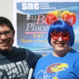 "Sierra Nevada Corporation employees dressed up for ""March Madness"" employee BBQ."