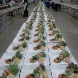 Catering for 5,000. Making salads.