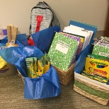 "Just some of the school supplies we collected for the United Way's ""Stuff the Bus"" campaign!"