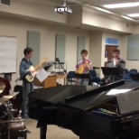 St. Francis Xavier University photo: Working with Vocal class feat. jazz musicians as backing band with Professor Ryan Billington