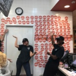 El Pollo Loco photo: Employees proud of the donations they have gathered.