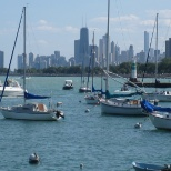Summer view of Chicago skyline from Montrose Harbor