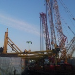 Aker Solutions photo: The set of the cranes for Premier Oil Solan Jacket