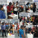 "HGS employees participated in the ""Close your Eyes & Guess"" activity this Fun Friday at our Raipur c"
