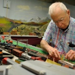 Luther Manor photo: Enjoying the model trains is a favorite pastime for Luther Manor residents