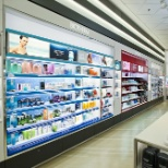 IVC engineered and manufactured this stunning lit merchandising wall for Biotherm.