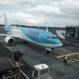 Thomson , arriving in , and getting unloaded , cleaned and re loaded and off on another sector.