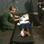 Triaging and preparing a patient for flight from injuries due to Earthquake.