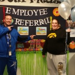 The recipient of a cool $250 bonus, thanks to her employee referrals this month.