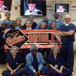 Neurosurgery Team at Sinai Hospital shows their Orioles pride!
