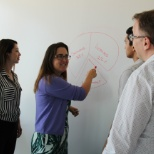 Group of employees brainstorming