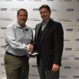 Exide Employee Receiving a Service Award from Exide CEO, Vic Koelsch