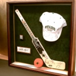 An example of a custom sports shadowbox for a member 