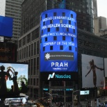 PRA Health Sciences photo: In May PRA HS was recognized on the Nasdaq tower in NYC as Pharma Times Clinical Company of the year