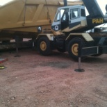 loading new haul truck bed headed to the coal mine