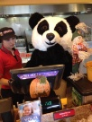 Me when I first started and an associate in the Panda Bear suit!
