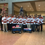 Lutheran Hospital of Indiana photo: The Komets brought gifts to the patients at the hospital!