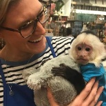 Just a typical day at a Pier 1 store: Xander the monkey stops by to say hello.