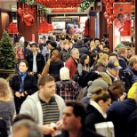 Busy Macy's store during the holidays