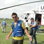Just landed off the UN chopper to visit the camp