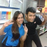 With colleague