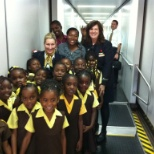 Kindergarten class on a field trip to see our aircraft.