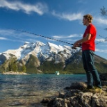 Fishing in one of the many lakes in Banff National Park