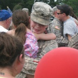 Hugging my niece after coming home from my tour in iraq